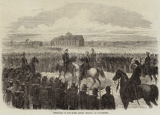 Inspection of the Essex Rifles (Militia) at Colchester. Illustration for The Illustrated London News, 22 May 1869.