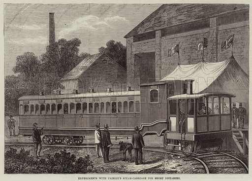 Experiments with Fairlie's Steam-Carriage for Short Distances. Illustration for The Illustrated London News, 14 August 1869.