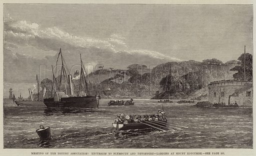 Meeting of the British Association, Excursion to Plymouth and Devonport, landing at Mount Edgcumbe. Illustration for The Illustrated London News, 4 September 1869.