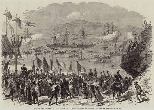 Visit of the Empress of the French and Prince Imperial to Corsica, landing at Ajaccio. Illustration for The Illustrated London News, 11 September 1869.