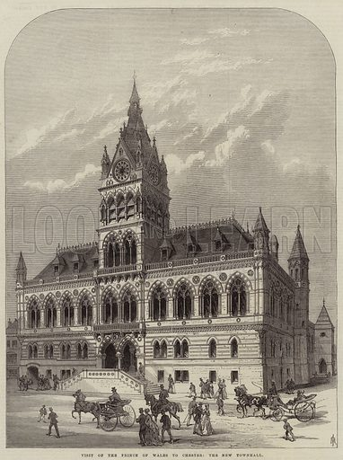 Visit of the Prince of Wales to Chester, the New Townhall. Illustration for The Illustrated London News, 16 October 1869.