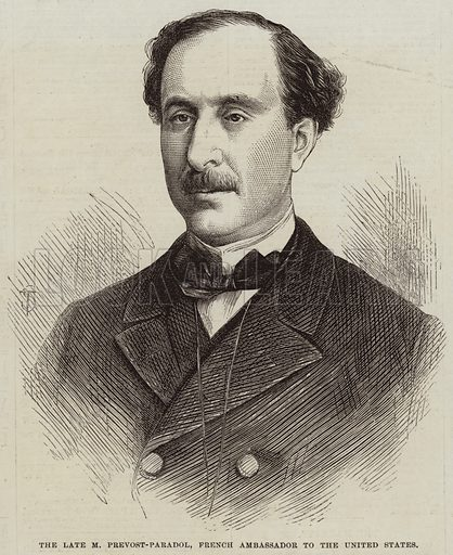 The Late M Prevost-Paradol, French Ambassador to the United States. Illustration for The Illustrated London News, 6 August 1870.