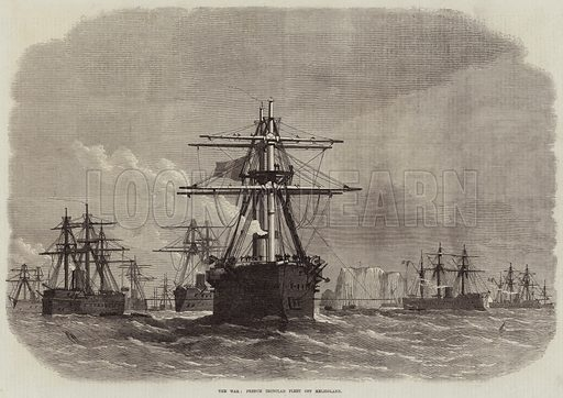 The War, French Ironclad Fleet off Heligoland. Illustration for The Illustrated London News, 27 August 1870.