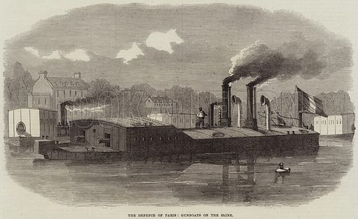 The Defence of Paris, Gunboats on the Seine. Illustration for The Illustrated London News, 10 September 1870.