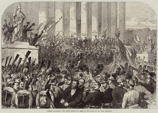 Gambetta proclaiming the French Republic in front of the Palace of the Corps Legislatif. Illustration for The Illustrated London News, 10 September 1870.