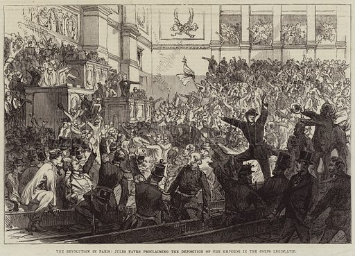 The Revolution in Paris, Jules Favre proclaiming the Deposition of the Emperor in the Corps Legislatif. Illustration for The Illustrated London News, 17 September 1870.