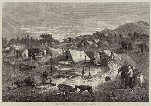 Fall of Metz, Huts of French Camp at Bon St Martin. Illustration for The Illustrated London News, 19 November 1870.
