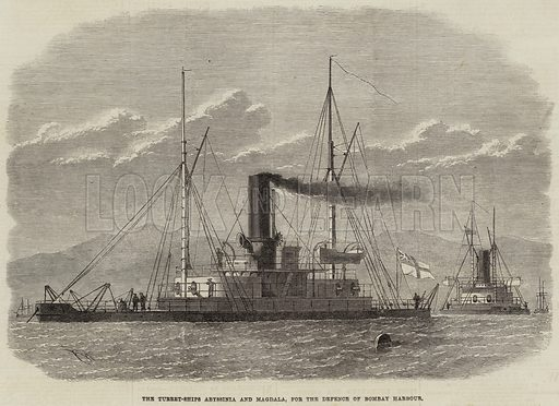 The Turret-Ships Abyssinia and Magdala, for the Defence of Bombay Harbour. Illustration for The Illustrated London News, 11 February 1871.
