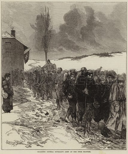 Disarming General Bourbaki's Army at the Swiss Frontier. Illustration for The Illustrated London News, 25 February 1871.