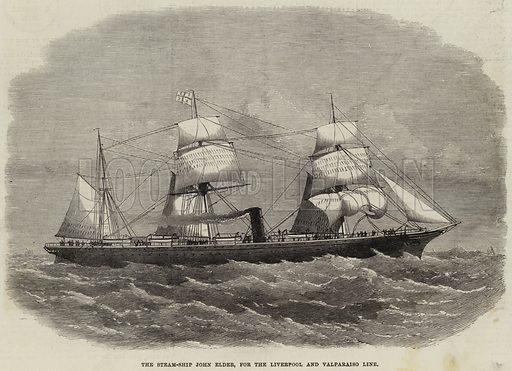 The Steam-Ship John Elder, for the Liverpool and Valparaiso Line. Illustration for The Illustrated London News, 11 March 1871.