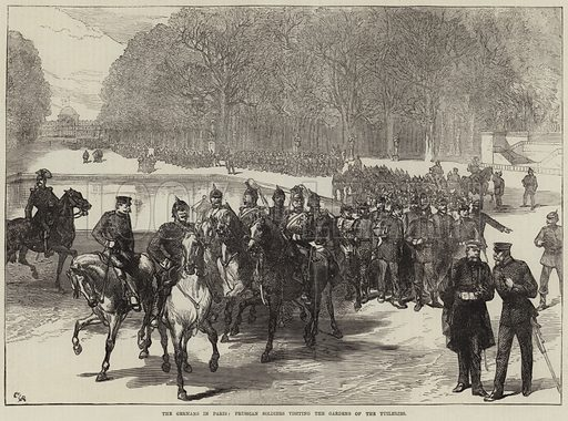 The Germans in Paris, Prussian Soldiers visiting the Gardens of the Tuileries. Illustration for The Illustrated London News, 18 March 1871.