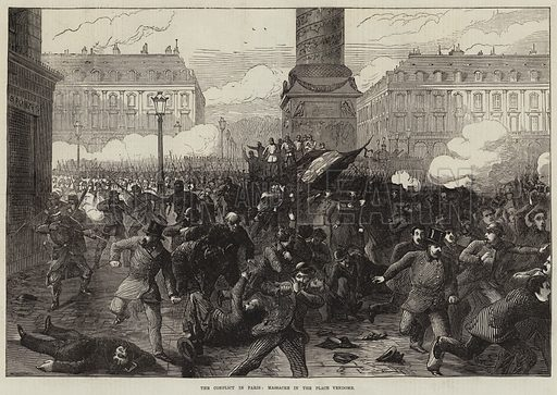 The Conflict in Paris, Massacre in the Place Vendome. Illustration for The Illustrated London News, 1 April 1871.