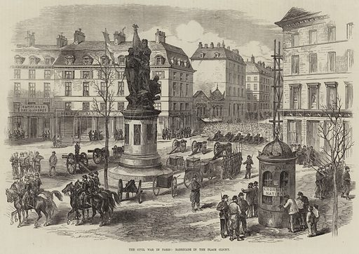 The Civil War in Paris, Barricade in the Place Clichy. Illustration for The Illustrated London News, 15 April 1871.