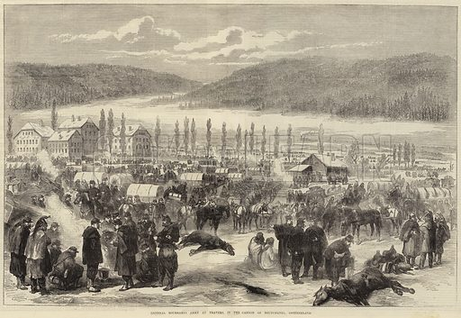 General Bourbaki's Army at Travers, in the Canton of Neufchatel, Switzerland. Illustration for The Illustrated London News, 25 February 1871.