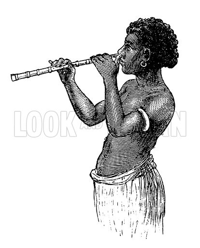Woman with nose flute. Detail from illustration called sketches in the Fiji Islands. Illustration for The Illustrated London News, 8 March 1873.