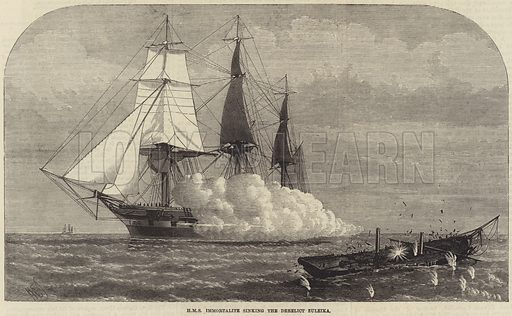 HMS Immortalite sinking the Derelict Zuleika. Illustration for The Illustrated London News, 12 April 1873.