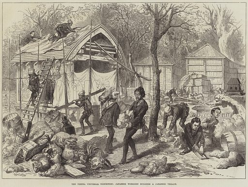 The Vienna Universal Exhibition, Japanese Workmen building a Japanese Village. Illustration for The Illustrated London News, 10 May 1873.