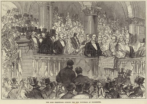 The Lord Chancellor opening the New Townhall at Winchester. Illustration for The Illustrated London News, 24 May 1873.