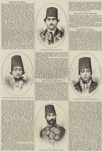 The Sons of the Shah. Illustration for The Illustrated London News, 21 June 1873.
