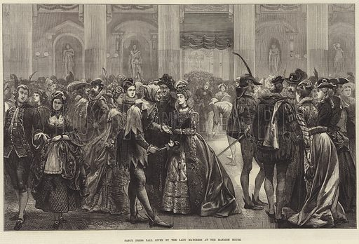 Fancy Dress Ball given by the Lady Mayoress at the Mansion House. Illustration for The Illustrated London News, 3 May 1873.