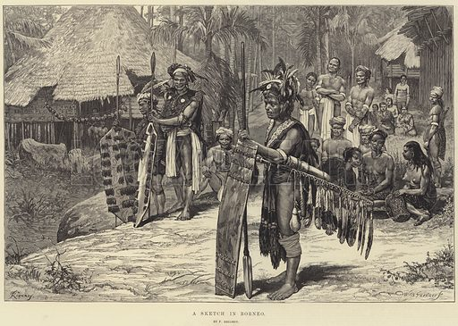 A Sketch in Borneo. Illustration for The Illustrated London News, 4 January 1873.