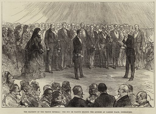 The Majority of the Prince Imperial, the Duc de Padoue reading the Address at Camden Place, Chiselhurst. Illustration for The Illustrated London News, 28 March 1874.