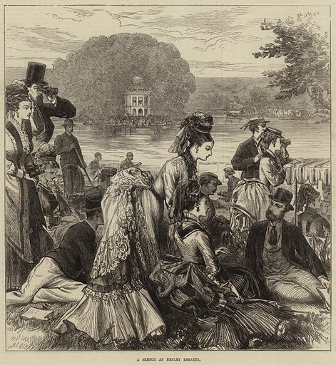 A Sketch at Henley Regatta. Illustration for The Illustrated London News, 27 June 1874.