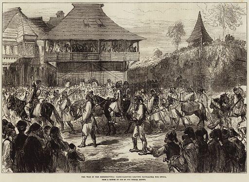 The War in the Herzegovina, Bashi-Bazouks leaving Baynaluka for Swina. Illustration for The Illustrated London News, 1 January 1876.