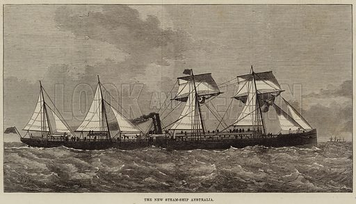 The New Steam-Ship Australia. Illustration for The Illustrated London News, 15 January 1876.