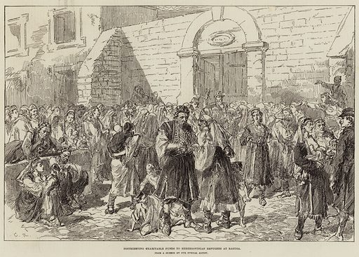 Distributing Charitable Funds to Herzegovinian Refugees at Ragusa. Illustration for The Illustrated London News, 22 January 1876.