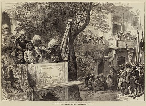 The Royal Visit to India, waiting for the Shahzadah, Gwalior. Illustration for The Illustrated London News, 11 March 1876.
