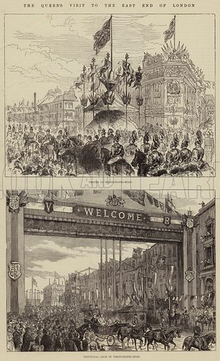 The Queen's Visit to the East End of London. Illustration for The Illustrated London News, 11 March 1876.