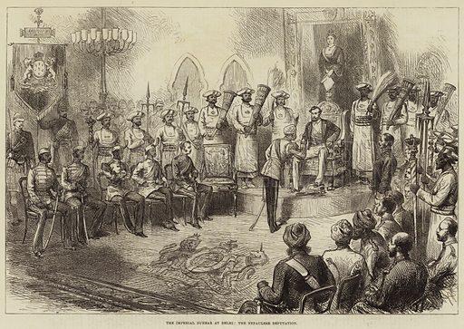 The Imperial Durbar at Delhi, the Nepaulese Deputation. Illustration for The Illustrated London News, 3 February 1877.