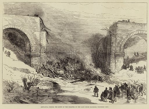 Ashtabula Bridge, the Scene of the Disaster on the Lake Shore Railroad, Northern Ohio. Illustration for The Illustrated London News, 3 February 1877.