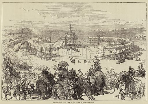 General Bird's-Eye View of the Imperial Durbar at Delhi. Illustration for The Illustrated London News, 10 February 1877.