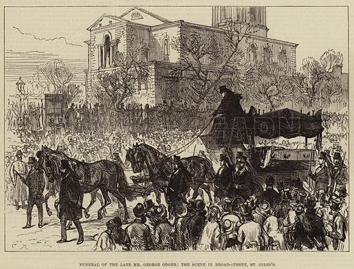 Funeral of the Late Mr George Odger, the Scene in Broad-Street, St Giles's. Illustration for The Illustrated London News, 17 March 1877.