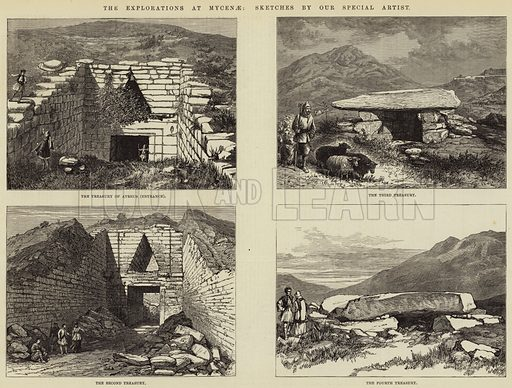 The Explorations at Mycenae. Illustration for The Illustrated London News, 7 April 1877.