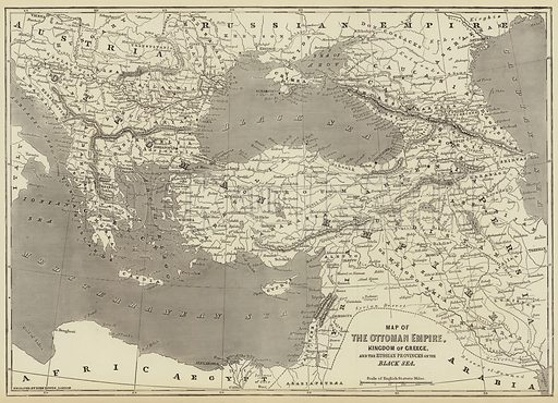 Map of the Ottoman Empire, Kingdom of Greece, and the Russian Provinces on the Black Sea. Illustration for The Illustrated London News, 21 April 1877.