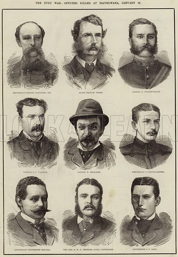 The Zulu War, Officers killed at Isanhlwana, 22 January. Illustration for The Illustrated London News, 22 March 1879.