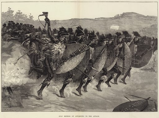 Zulu Method of Advancing to the Attack. Illustration for The Illustrated London News, 19 April 1879.