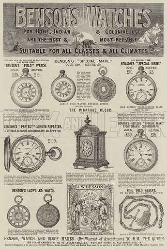 Advertisement, Benson's Watches. Illustration for The Illustrated London News, 15 December 1883.