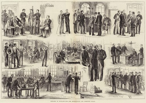 Sketches in Scotland-Yard, the Metropolitan and Detective Police. Illustration for The Illustrated London News, 29 September 1883.
