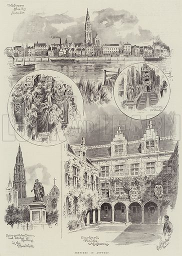 Sketches in Antwerp. Illustration for The Illustrated London News, 1 September 1894.