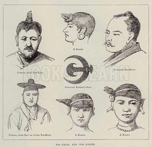 Pig-Tails and Top-Knots. Illustration for The Illustrated London News, 8 September 1894.