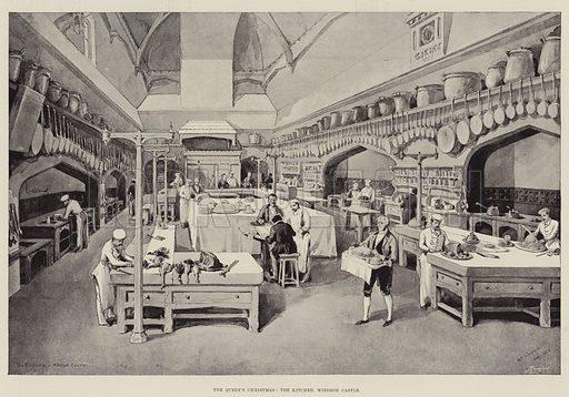 The Queen's Christmas, the Kitchen, Windsor Castle. Illustration for The Illustrated London News, 22 December 1894.