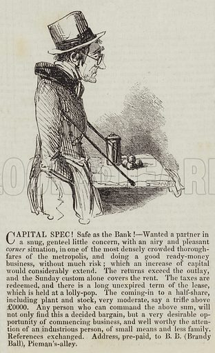 Capital Spec! Safe as the Bank! Illustration for The Illustrated London News, 14 May 1842.
