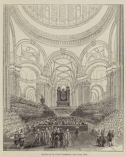 Interior of St Paul's Cathedral, 2 June 1842. Illustration for The Illustrated London News, 4 June 1842.