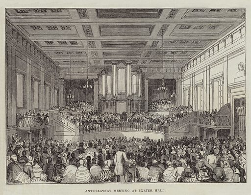 Anti-Slavery Meeting at Exeter Hall. Illustration for The Illustrated London News, 25 June 1842.