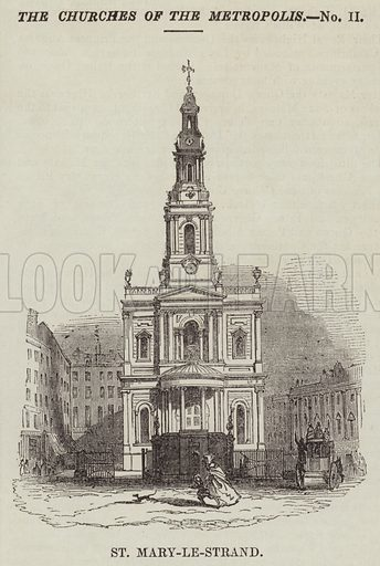 St Mary-le-Strand. Illustration for The Illustrated London News, 16 July 1842.