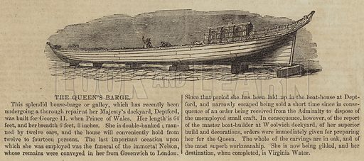 The Queen's Barge. Illustration for The Illustrated London News, 30 July 1842.